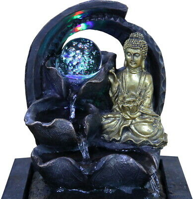 £21.99 • Buy Crystal Ball Buddha Indoor Water Fountain Garden Water Feature LED Lights Statue