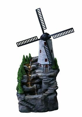 £79.99 • Buy Indoor Outdoor Polyresin Water Fountain Feature LED Lights Garden Windmill