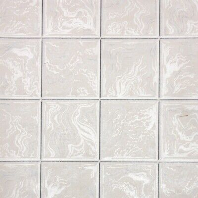 £39.85 • Buy 1950s Faux Tile Vintage Wallpaper White Gray Ivory Tile With Black Grout