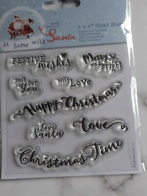 BRAND NEW CLEAR STAMPS  - DOCRAFTS AT HOME WITH SANTA - CHRISTMAS SENTIMENTS X 8 • 3.99£