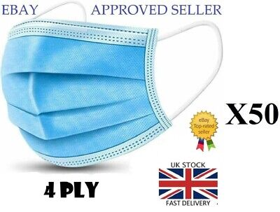 50xDisposable Protective Face Mask 4Ply Breathable Surgical Medical Blue Masks • 14.95£