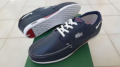 Lacoste Dreyfus Men's Sport Casual Leather Boat SHOES Size US8 Blue/White • 68.80£