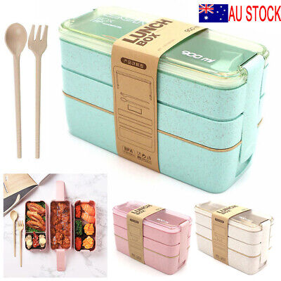 AU15.99 • Buy 3-Layer Bento Box Students Lunch Box Eco-Friendly Leakproof 900ml Food Container