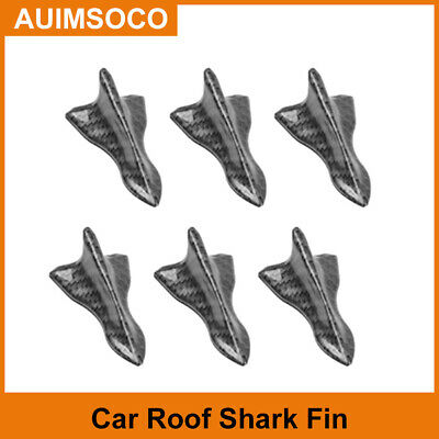 $17.54 • Buy Car Stickers Carbon Fiber Shark Fin Roof Spoiler Decals Parts Accessories 6Pcs