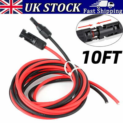 £15.43 • Buy 2x 10FT DC Solar Panel Cable Wire Extensions Red & Black With Connector Adapter