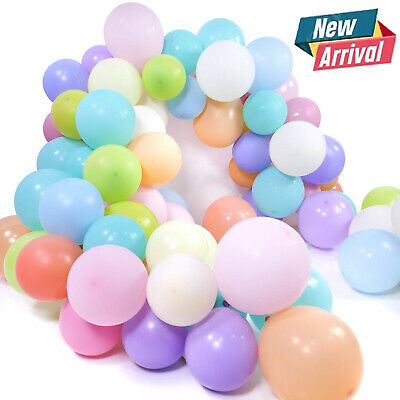 100 Pcs Macaron Pastel Balloons Rainbow Ballons Birthday Baby Shower Party Decor • 3.99£
