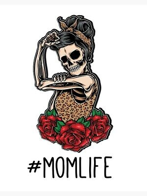 #momlife Power Skull And Roses Iron On A5 T Shirt Transfer • 3.79£