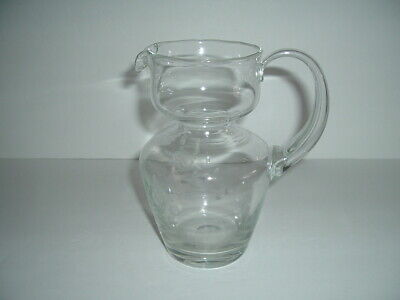 $17.99 • Buy Antique Mouth Blown Glass Pitcher Etched Floral Design Applied Handle