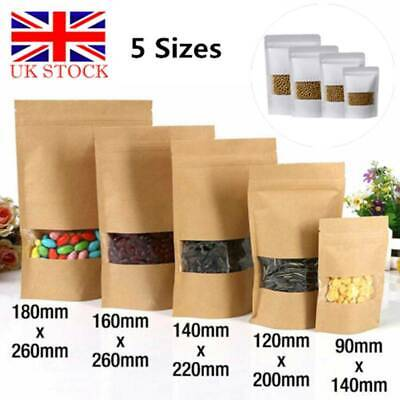 10/20/50/100x Kraft Paper Bag/Window Stand Up Pouch Resealable Heat Seal Display • 4.29£