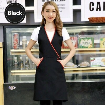 Women Lady Anti Oil Pocket Work Apron For Cafe Waiter Chef Cooking Bar Wear Slim • 8.99£