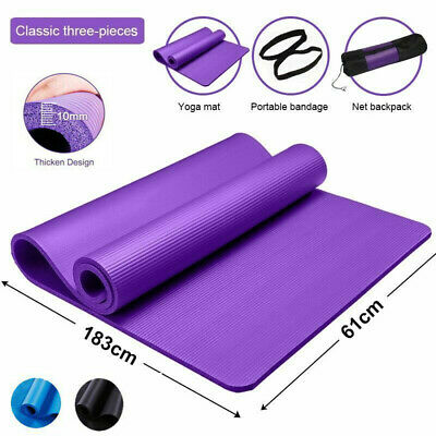 AU13.39 • Buy 6/10/15MM Yoga Mat Durable Thick Pad Non-Slip Exercise Pilate Fitness Gym Strap