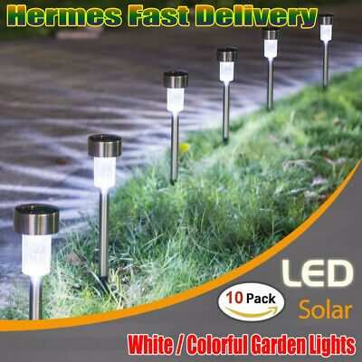 10x Solar Powered Stainless Steel Led Post Stake Lights Garden Patio Outdoor UK • 9.99£