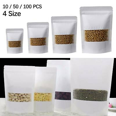 Window Matt Finish Foil Mylar Bag Stand Up Pouches Food Grade Heat Seal Zip Lock • 4.59£