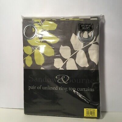 Sandown & Bourne Grey Patterned Unlined Ringtop Curtains 117 X 137cm *BRAND NEW* • 16.95£