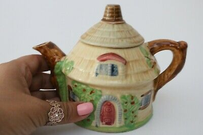 £15 • Buy Vintage Collectable 1930s Small English Thatched Cottage Teapot Japan - Lovely!