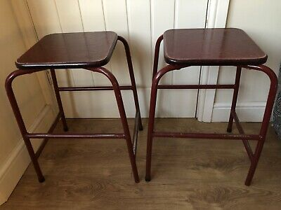 Two 1970s Vintage Dark Red Tubular Stacking School Lab Stools - Industrial • 35.99£