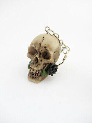 Skull & Roses Skull Head Keyring - Gothic Keyring - Black Rose -1pc Brand New • 2.50£
