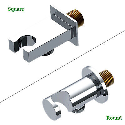 Square Round Shower Outlet Elbow Connector Shower Handset Holder Bracket BRASS • 13.15£