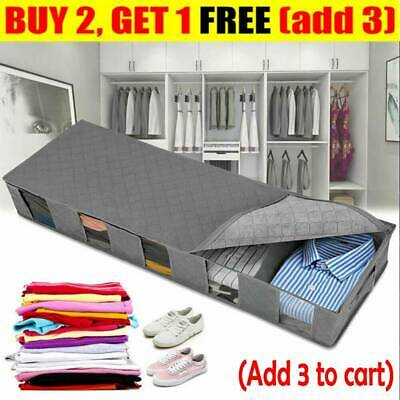 New Large Capacity Under Bed Storage Bag Box 5 Compartments Clothes Organizer NV • 7.29£