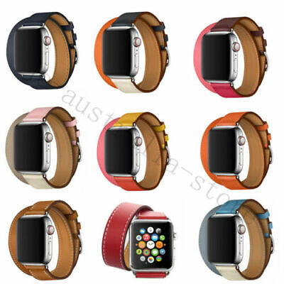AU14.99 • Buy Leather Band Double Tour Bracelet Watchband For Apple Watch Series 6 / Se 40/44