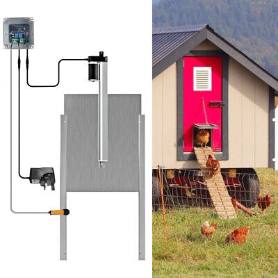 Automatic Chicken Poultry Hen Door Opener Closer Guard Electric Sliding Timer • 81.89£