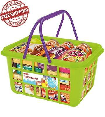 Grocery Kids Shopping Basket Food Playset Childrens Pretend Play Toy Plastic • 6.95£