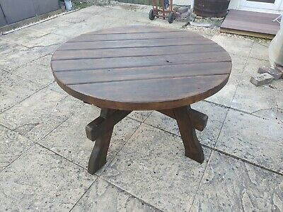 110cm Pressure Treated 55mm Wooden Picnic Table Round Pub Bench Garden Furniture • 79£