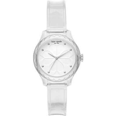 $ CDN70.17 • Buy NWT 💎 KATE SPADE KSW1603 Rosebank Clear White Silver Polyurethane 32mm Watch
