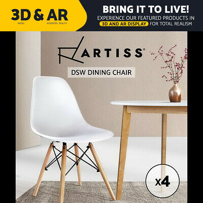 AU95.95 • Buy Artiss Retro Replica DSW Dining Chairs Office Chair Cafe Kitchen White X4