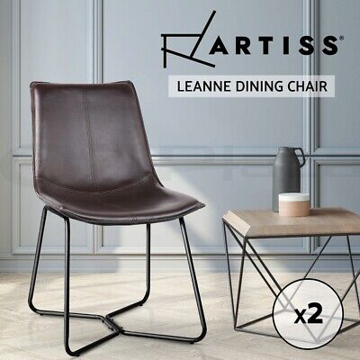 AU139.95 • Buy Artiss 2x Retro Vintage Chair Dining Chairs Rustic DSW Leather Walnut