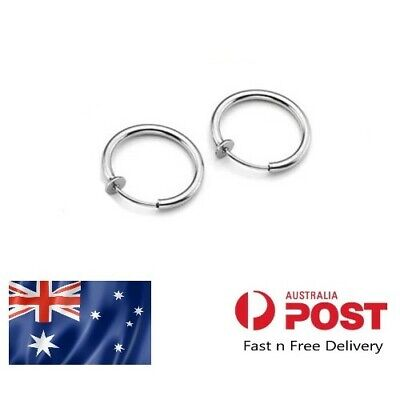 AU3.89 • Buy 12G Silver 8mm Fake Faux Piercing Hoop Ring Spring Clip On Lip Nose Septum Ear