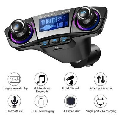 Car FM Transmitter Kit Wireless Bluetooth Handsfree MP3 Player USB Charger AUX • 7.99£