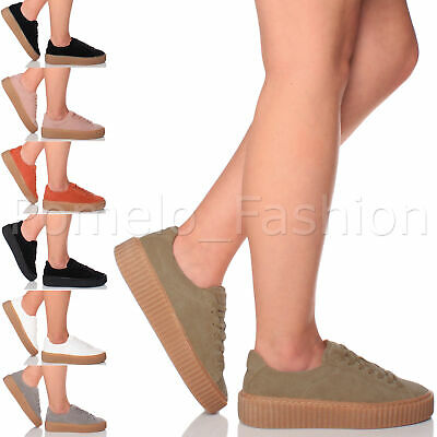 Womens Ladies Chunky Flatform Platform Lace Up Pumps Trainers Creepers Shoe Size • 14.99£