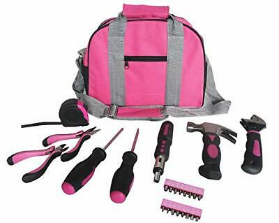 NEW Ladies Pink Tool Kit Tool Bag DIY Set Includes Pink Hammer, Pink Pliers..... • 27.99£