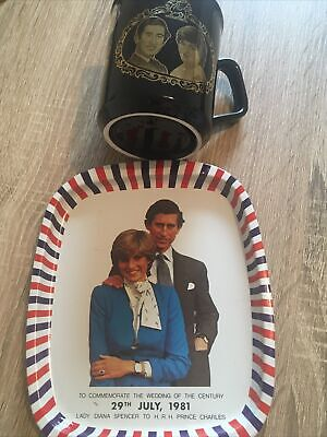 Lady Diana Spencer To Prince Charles Commemorateable Wedding Mug And Tray • 5£