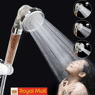 Turbo Pressure Shower Head With Filter Beads Three Spray 3 Modes Powerful Energy • 6.98£