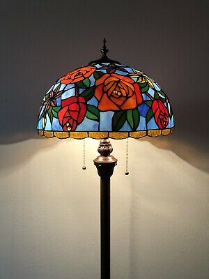 Tiffany Style Floor Lamp Rose Flower Stained Glass  Antique Vintage W16H64 Inch • 172.94£