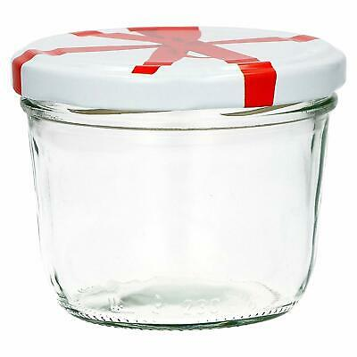 5 X 8 Oz/230 Ml Round Glass Jam Jars Crafts/Candles/Gifts White & Red Bow Lids • 6.65£