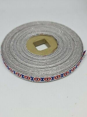 Silver Embroidery Indian Sari Border Lace Ribbon Trim Craft Full Roll • 8£