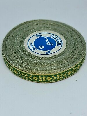 Green & Gold Embroidery Indian Sari Border Lace Ribbon Trim Craft Full Roll • 8£
