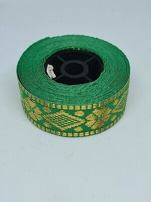 Green & Gold Embroidery Indian Sari Border Lace Ribbon Trim Craft Roll • 2.50£