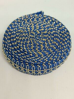 Blue & Gold Embroidery Indian Sari Border Lace Ribbon Trim Craft Roll  • 5£