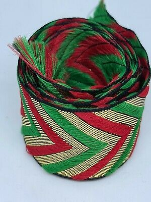 Green, Gold And Red Embroidery Indian Sari Border Lace Ribbon Trim Craft Roll  • 1£