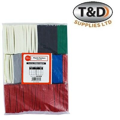 200 X Timco Flat Plastic Mixed Packers Window Wedges & Glazing Packer Spacers • 10£
