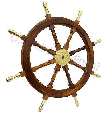 36 Nautical Wooden Ship Steering Wheel Pirate Decor Wood Brass Fishing Wall Boat • 71.99£