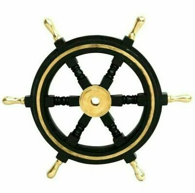 Nautical Wooden Ship Steering Wheel Pirate Decor 12  Brass Fishing Wall Boat • 39.89£