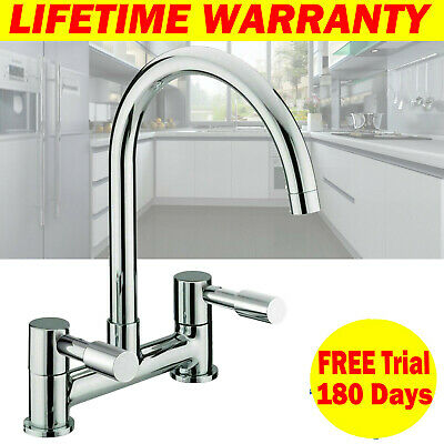 Dual Lever Chrome Kitchen Sink Mixer Taps 1/4 Turn Easy Use 2 Hole Deck Mounted • 22.40£