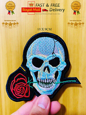 £1.99 • Buy Biker Patch Skull Rose Embroidered Sew/Iron On Patch Badge Transfer Jacket N-13