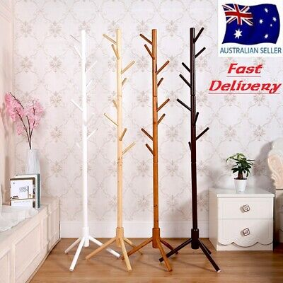 AU29.50 • Buy Wooden Coat Stand Rack Clothes Hanger Hat Tree Vintage Jacket Bag Umbrella