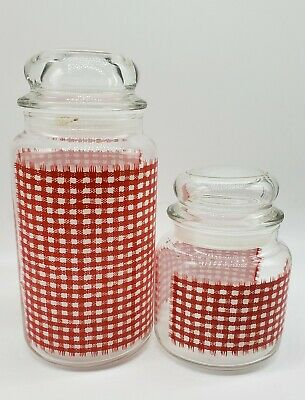 Vtg Anchor Hocking Glass Jars With Lids Red & White Checkered Design Set Of 2 • 23.08£